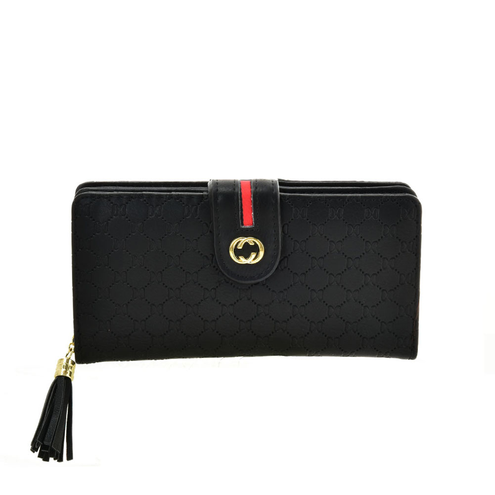 VKP1613 BLACK - Long Wallet With Tassel Design
