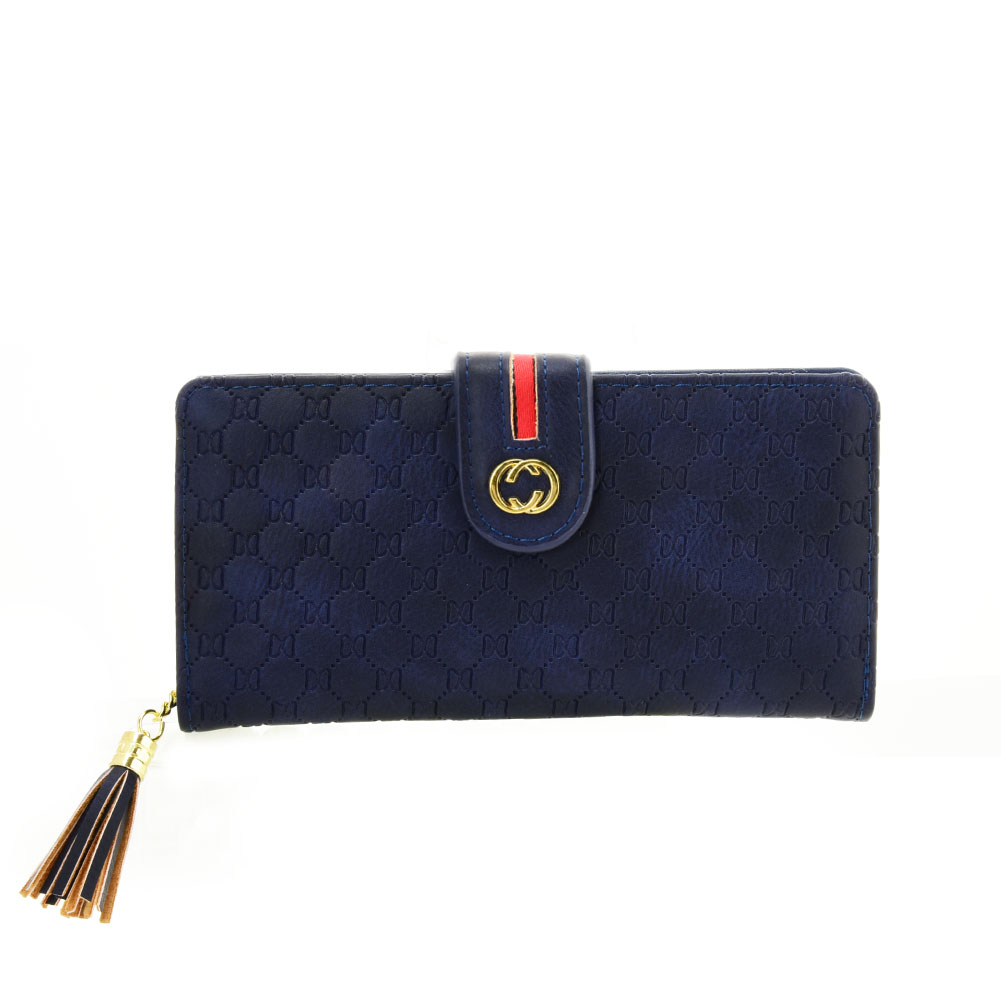 VKP1613 BLUE - Long Wallet With Tassel Design
