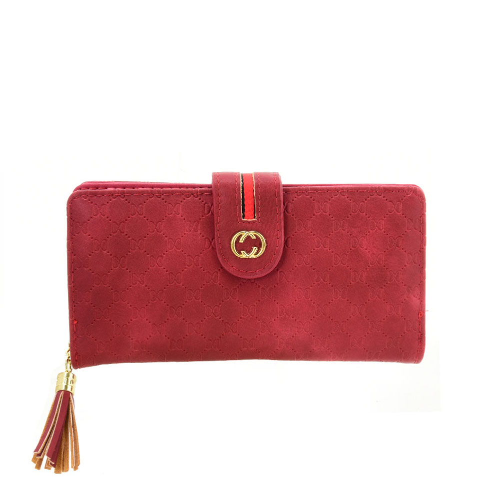 VKP1613 RED - Long Wallet With Tassel Design