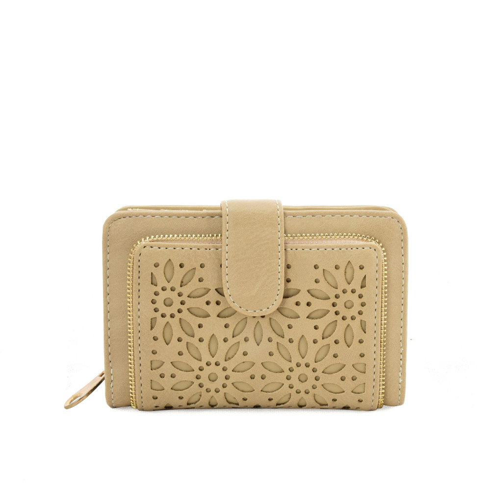 VKP1623 BEIGE - Short Wallet With Hollow Out Design