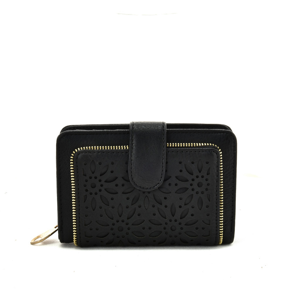 VKP1623 BLACK - Short Wallet With Hollow Out Design