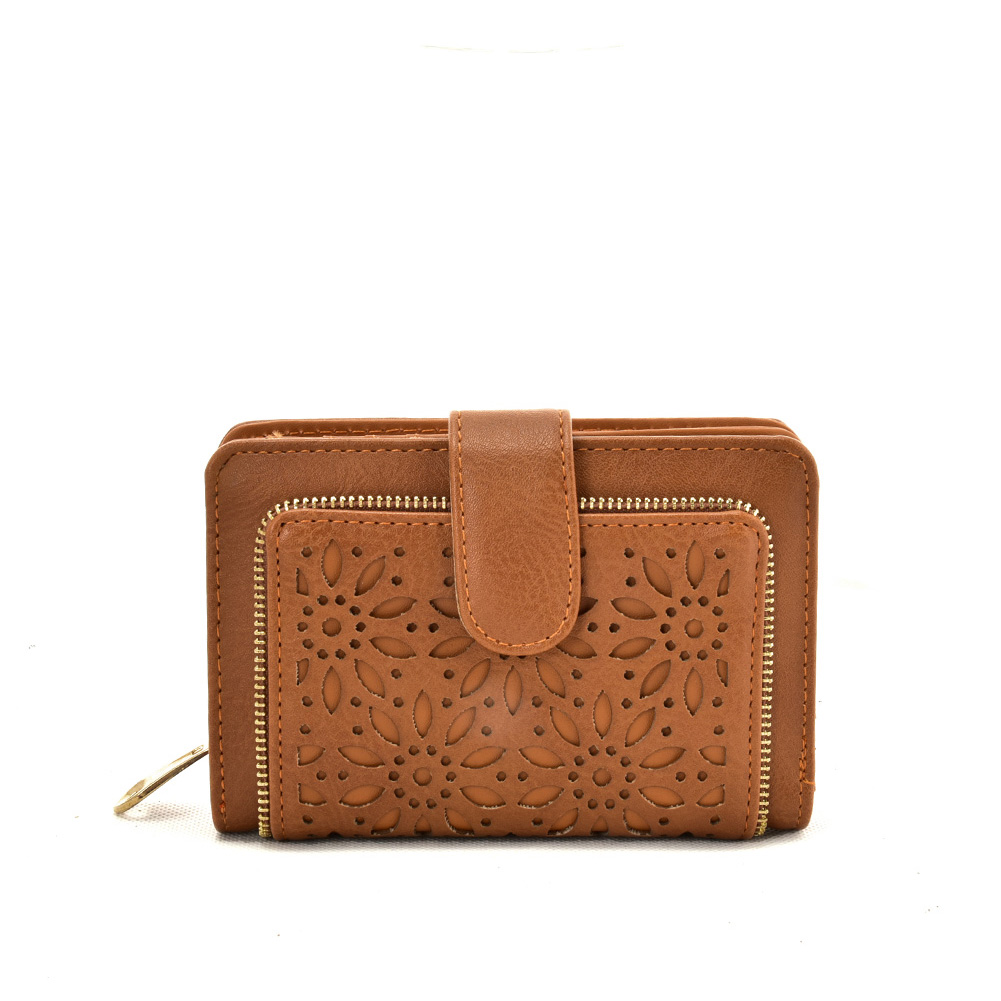 VKP1623 BROWN - Short Wallet With Hollow Out Design