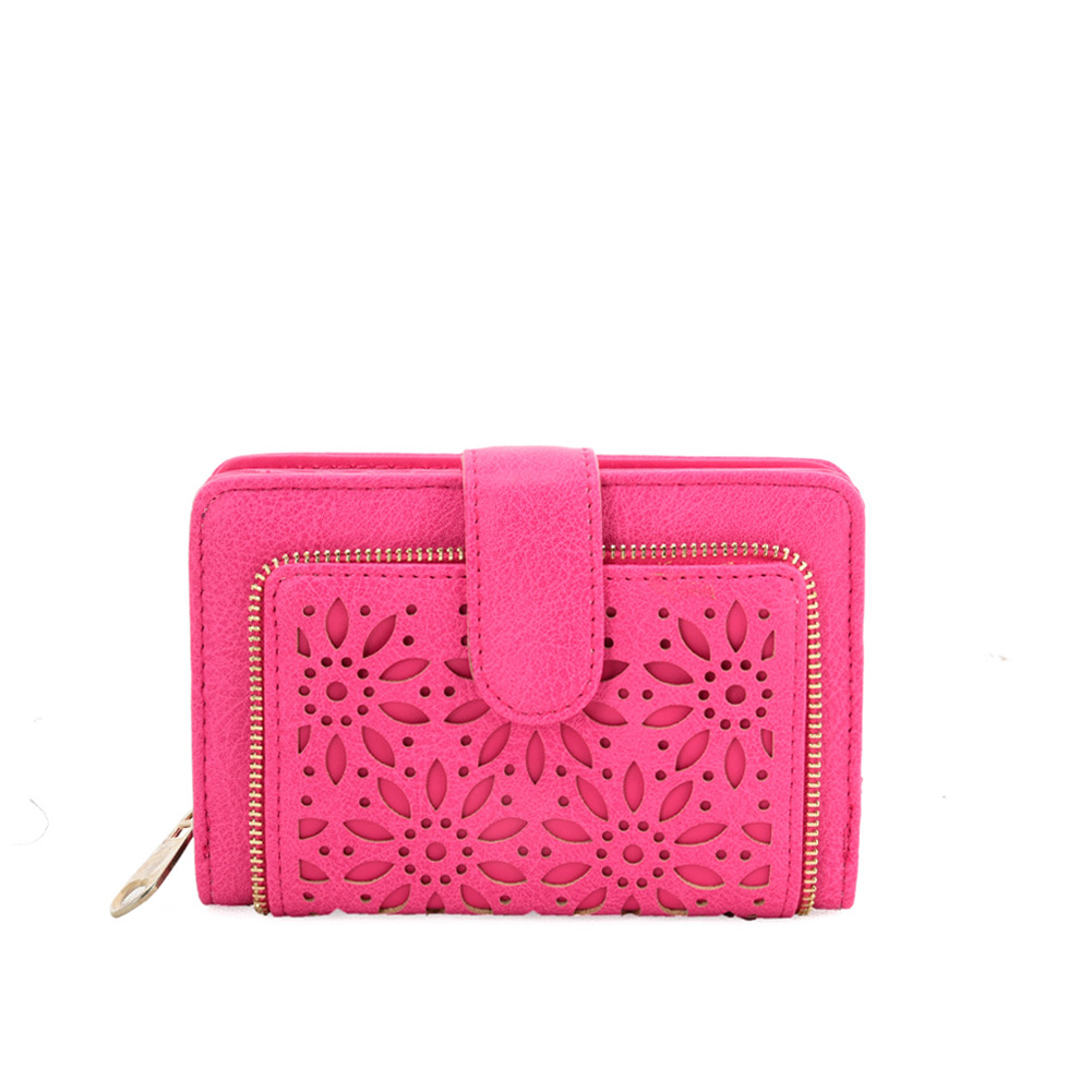 VKP1623 FUSHIA - Short Wallet With Hollow Out Design