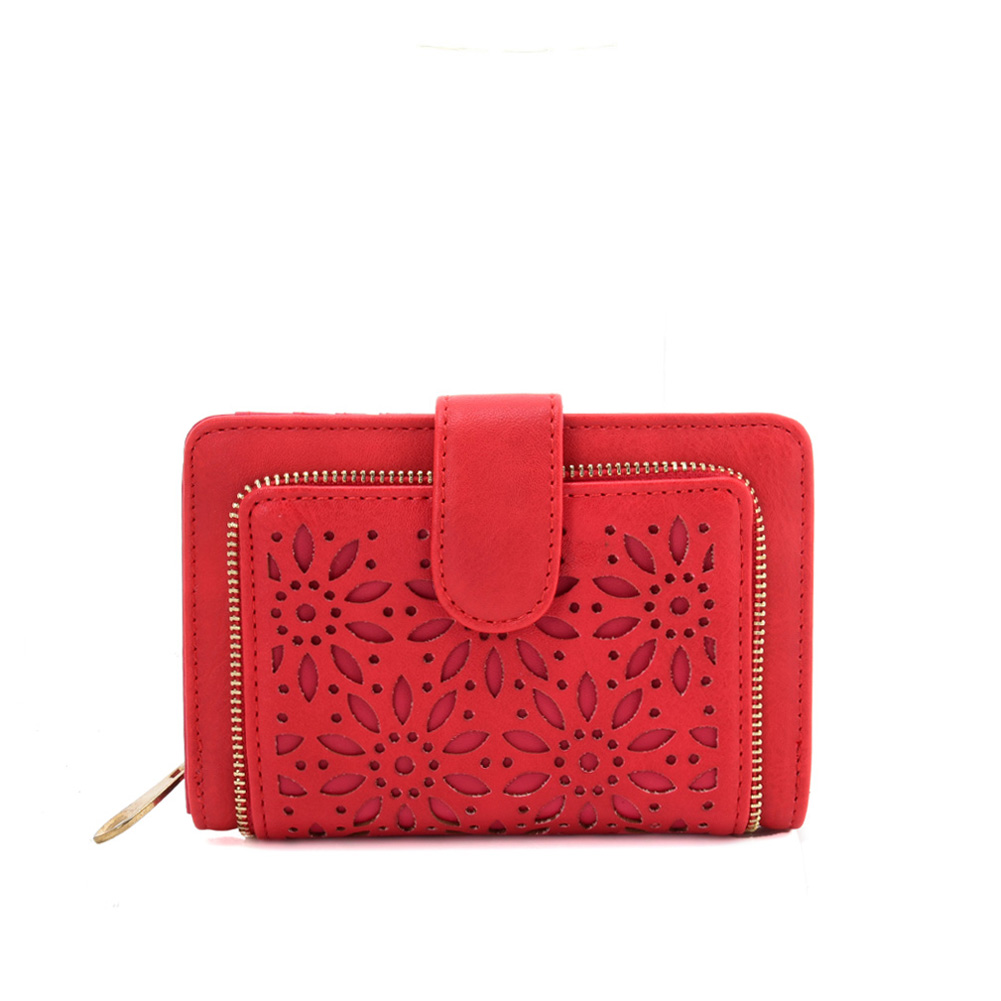 VKP1623 RED - Short Wallet With Hollow Out Design