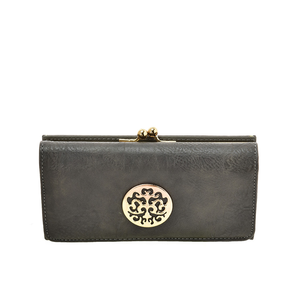 VKP1624 GREY - Long Spotted Wallet With Hardware Decoration
