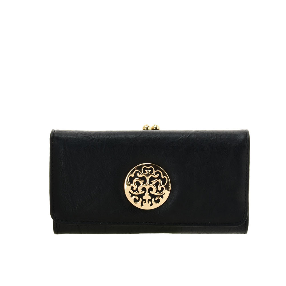 VKP1624 BLACK - Long Spotted Wallet With Hardware Decoration