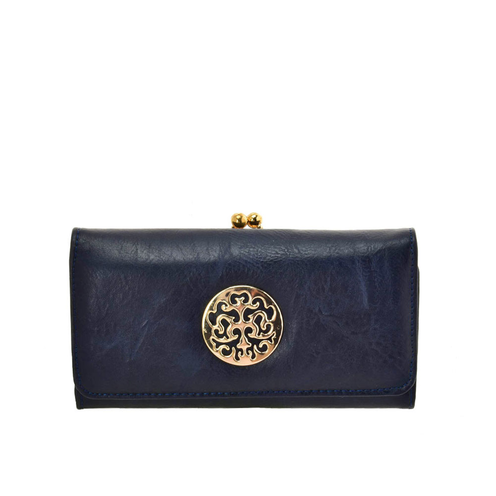 VKP1624 BLUE - Long Spotted Wallet With Hardware Decoration