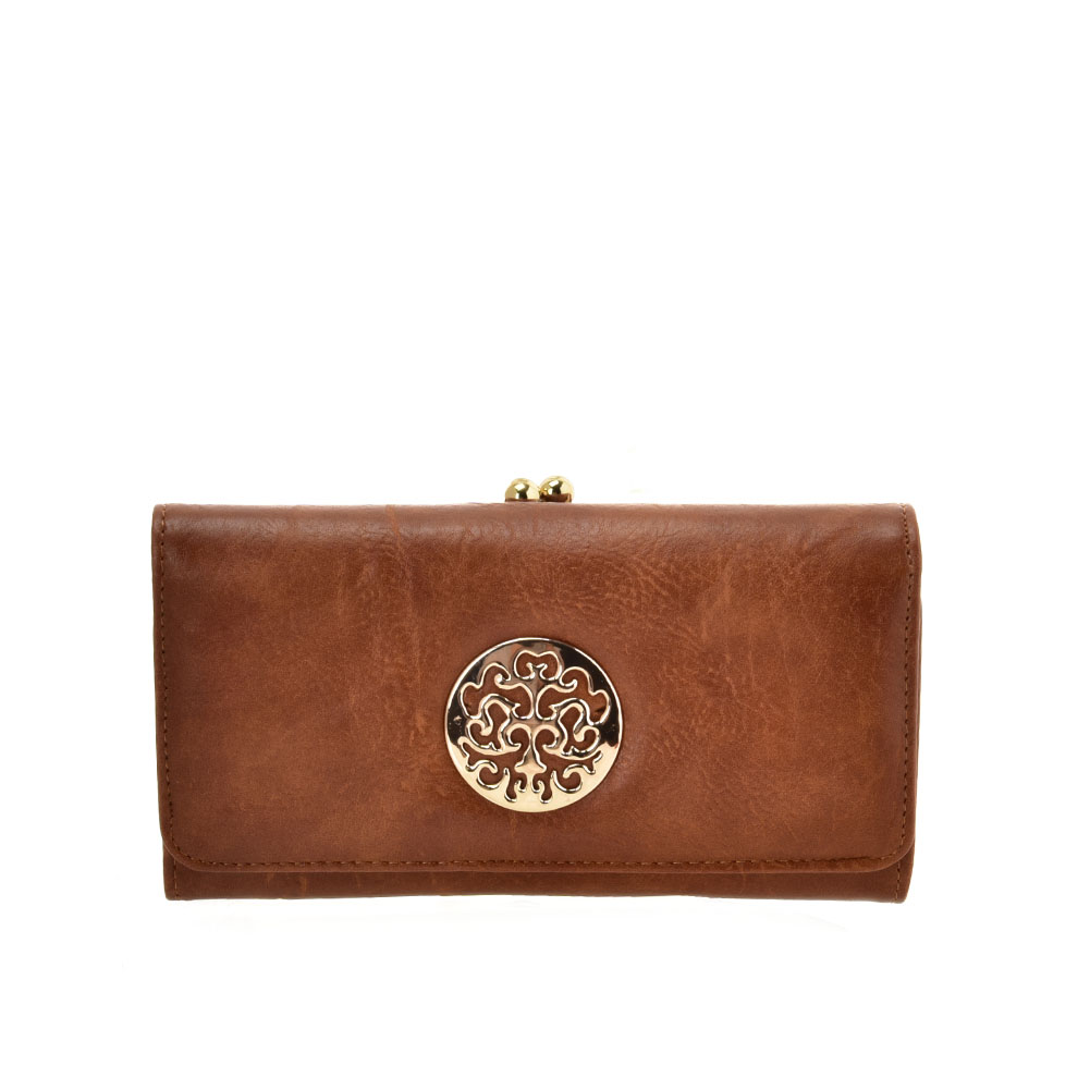 VKP1624 BROWN - Long Spotted Wallet With Hardware Decoration