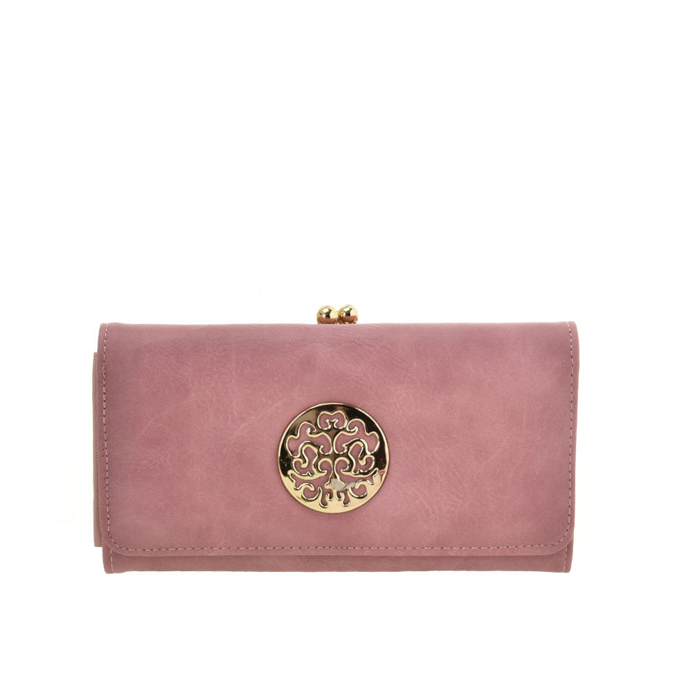 VKP1624 PINK - Long Spotted Wallet With Hardware Decoration